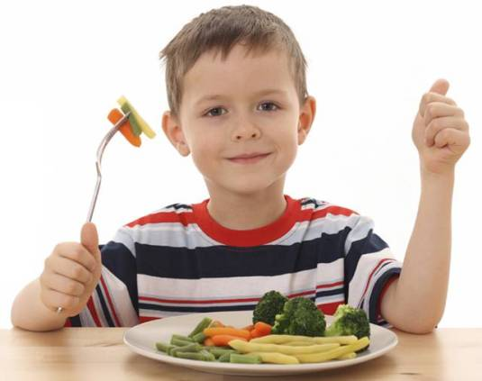 Boy Eating Veg-Action Wanted